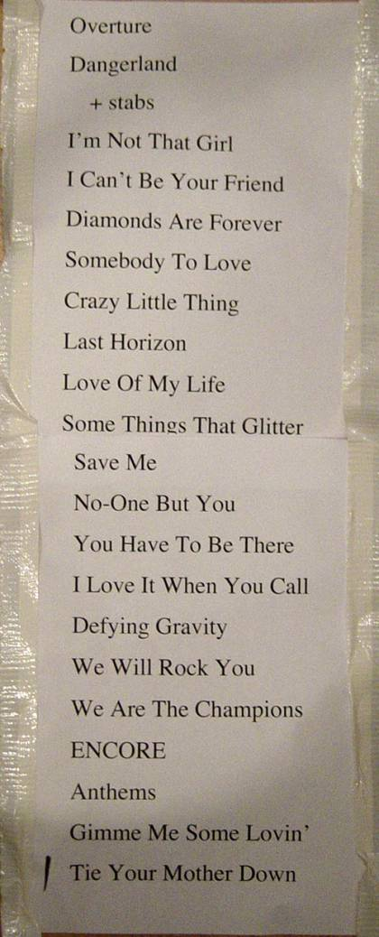 Setlist - Kerry Ellis in Southend, 19.05.2011 - (with Brian)