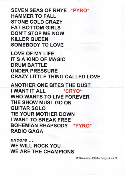 Setlist - Queen in Muang Thong Thani, 30.09.2016