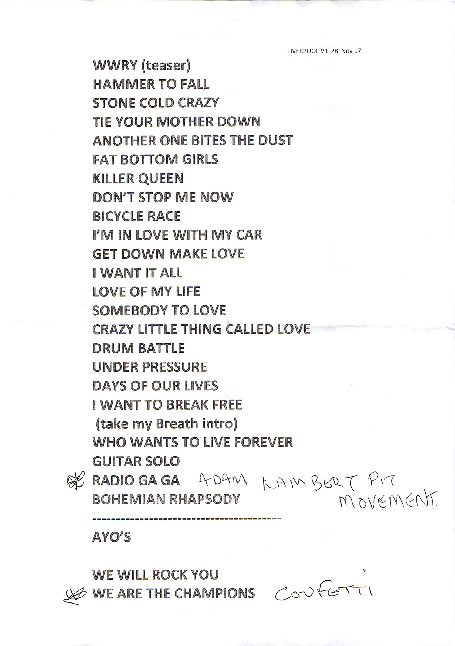 Setlist: Setlist: Queen in Liverpool