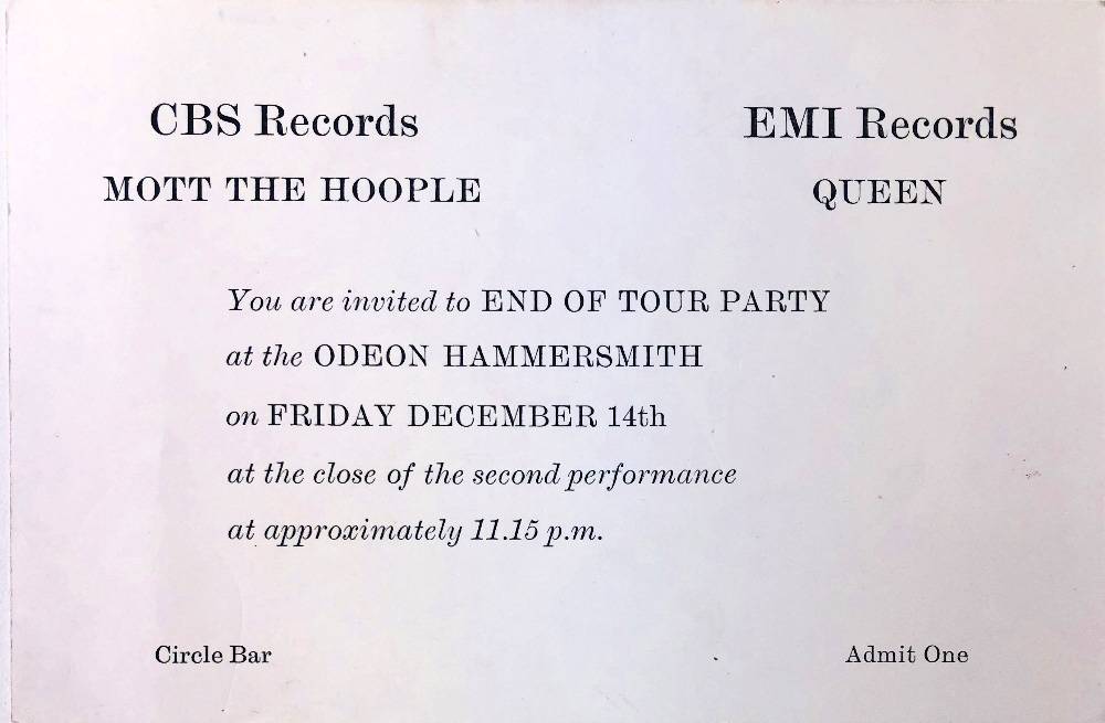Invite to the afterparty after the 1973 UK tour with Mott The Hoople