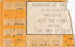 Ticket for a Mott The Hoople concert in Atlanta, USA where Queen were scheduled as a support band but couldn't play due to Brian's illness