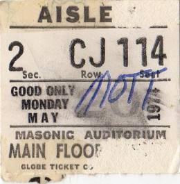 Ticket for a Mott The Hoople concert in Detroit, USA where Queen were scheduled as a support band but couldn't play due to Brian's illness