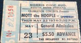 Ticket for a Mott The Hoople concert in South Bend, USA where Queen were scheduled as a support band but couldn't play due to Brian's illness