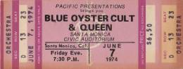Ticket for a Queen & Blue Oyster Colut concert in Santa Monica, USA where Queen couldn't play due to Brian's illness