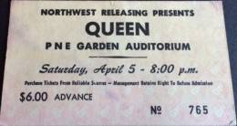 Ticket for a Queen concert at PNE Garden Auditorium, Vancouver, Canada that had to be cancelled because Freddie had a sore throat