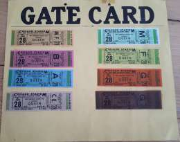 Gate card (for the security) which displays all existing tickets for the concert - Chicago 28.01.1977