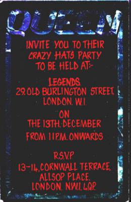 Invite to a Crazy tour afterparty (London, UK)