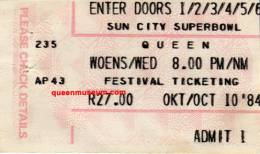 Ticket for a cancelled concert (Sun City, Bophuthatswana)