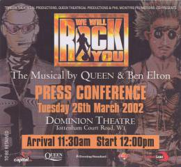 Invite to a We Will Rock You press conference (London, UK)