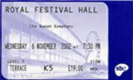 Ticket to the Queen Symphony premiere (London, UK)