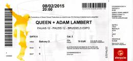 Ticket to the cancelled Queen + Adam Lambert concert in Brussels (February 8, 2015)