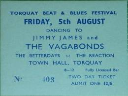 Ticket stub - The Reaction live at the Town Hall, Torquay, UK [05.08.1966]