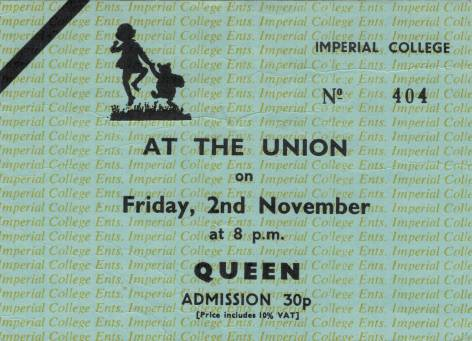 Ticket stub - Queen live at the Imperial College, London, UK [02.11.1973]