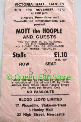 Ticket stub - Queen live at the Victoria Hall, Hanley, UK [18.11.1973]