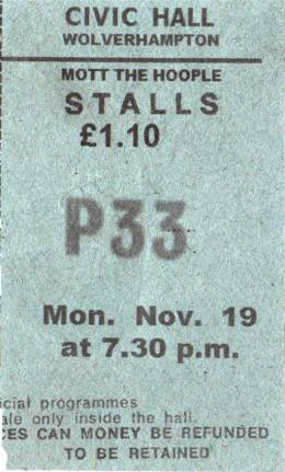 Ticket stub - Queen live at the Civic, Wolverhampton, UK [19.11.1973]