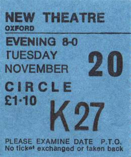 Ticket stub - Queen live at the New Theatre, Oxford, UK [20.11.1973]