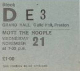 Ticket stub - Queen live at the Guildhall, Preston, UK [21.11.1973]
