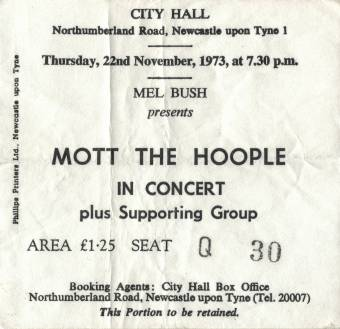 Ticket stub - Queen live at the City Hall, Newcastle, UK [22.11.1973]
