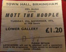 Ticket stub - Queen live at the Town Hall, Birmingham, UK [27.11.1973]