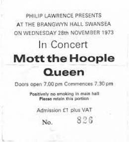 Ticket stub - Queen live at the Brangwyn Hall, Swansea, UK [28.11.1973]