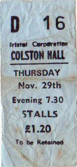 Ticket stub - Queen live at the Colston Hall, Bristol, UK [29.11.1973]