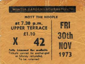 Ticket stub - Queen live at the Winter Gardens, Bournemouth, UK [30.11.1973]
