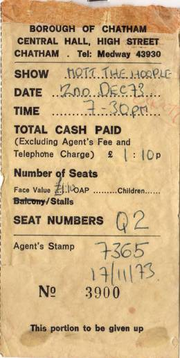 Ticket stub - Queen live at the Central, Chatham, UK [02.12.1973]