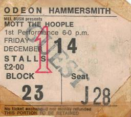 Ticket stub - Queen live at the Hammersmith Odeon, London, UK (1st gig) [14.12.1973]