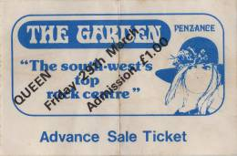 Ticket stub - Queen live at the The Garden, Penzance, UK [29.03.1974]