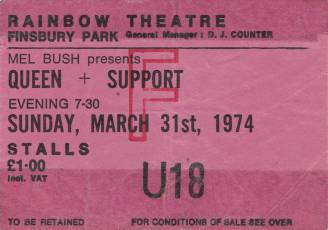 Ticket stub - Queen live at the Rainbow Theatre, London, UK [31.03.1974]