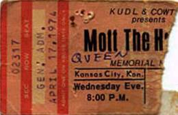 Ticket stub - Queen live at the Memorial Hall, Kansas City, KS, USA [17.04.1974]