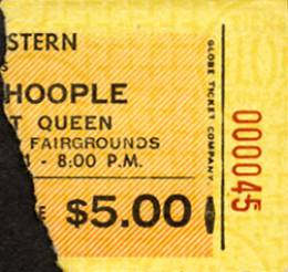 Ticket stub - Queen live at the Fairgrounds Appliance Building, Oklahoma City, OK, USA [19.04.1974]