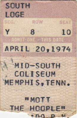 Ticket stub - Queen live at the Mid South Coliseum, Memphis, TN, USA [20.04.1974]
