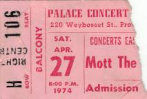 Ticket stub - Queen live at the Palace Theatre, Providence, RI, USA [27.04.1974]
