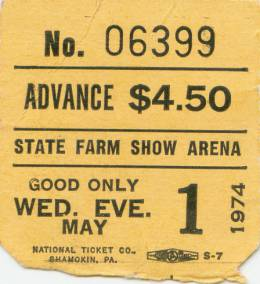 Ticket stub - Queen live at the Farm Arena, Harrisburg, PA, USA [01.05.1974]