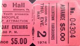 Ticket stub - Queen live at the Agricultural Hall, Allentown, PA, USA [02.05.1974]