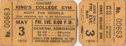 Ticket stub - Queen live at the Kings College, Wilkes Barre, PA, USA [03.05.1974]