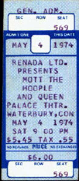 Ticket stub - Queen live at the Palace Theatre, Waterbury, CT, USA [04.05.1974]