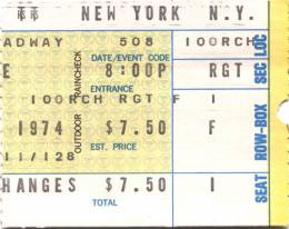 Ticket stub - Queen live at the Uris Theatre, New York, NY, USA [08.05.1974]