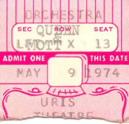 Ticket stub - Queen live at the Uris Theatre, New York, NY, USA [09.05.1974]