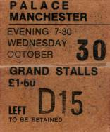 Ticket stub - Queen live at the Palace Theatre, Manchester, UK [30.10.1974]