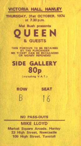Ticket stub - Queen live at the Victoria Hall, Hanley, UK [31.10.1974]