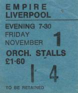 Ticket stub - Queen live at the Empire Theatre, Liverpool, UK [01.11.1974]