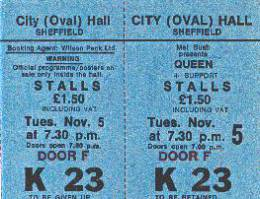 Ticket stub - Queen live at the City Hall, Sheffield, UK [05.11.1974]