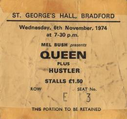 Ticket stub - Queen live at the St George's Hall, Bradford, UK [06.11.1974]