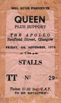 Ticket stub - Queen live at the Apollo Theatre, Glasgow, UK [08.11.1974]
