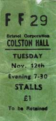 Ticket stub - Queen live at the Colston Hall, Bristol, UK [12.11.1974]