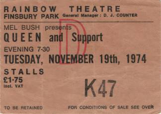 Ticket stub - Queen live at the Rainbow Theatre, London, UK [19.11.1974]
