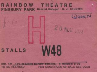 Ticket stub - Queen live at the Rainbow Theatre, London, UK [20.11.1974]