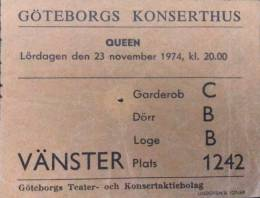 Ticket stub - Queen live at the Konserthuset, Gothenburg, Sweden [23.11.1974]